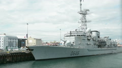 "French frigate ""Latouche-Tréville"" in the harbour of Reykjavik Stock Footage"