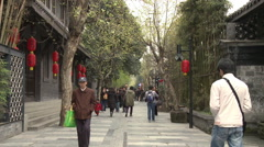 Kuanzhai ancient alley, Chengdu, China Stock Footage