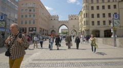 View of the Karlstor castle gates in Munich Stock Footage
