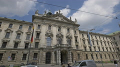 The facade of Landgericht München I in Munich - stock footage