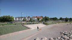 Sunny urban beach in a city of Helsinki Stock Footage