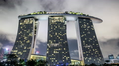 Stock Video Footage of Time Lapse of Marina Bay Sands Hotel at Night - Singapore