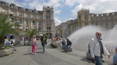 Beautiful afternoon in Karlplatz, Munich Stock Footage