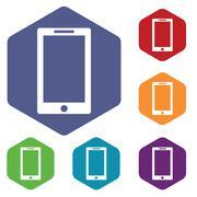 Tablet PC icon, hexagon set - stock illustration