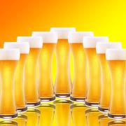 A row of beer pints Stock Photos