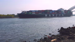 A cargo ship out of the newark bay   4K Stock Footage