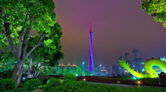 Stock Video Footage of night light guangzhou city center canton tower panorama 4k time lapse china