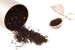 Black tea isolated on white - stock photo