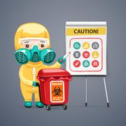 Caution Biohazard Poster with Doctor and Flipchart Stock Illustration