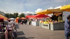 Kauppatori marketplace in Helsinki Stock Footage