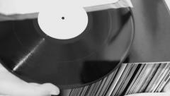 Vinyl records black white Stock Footage