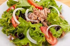 Onion salad of meat with roast vegetables close up Stock Photos