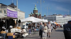 Kauppatori -marketplace in Helsinki Stock Footage