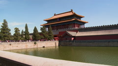 Forbidden City moat, Shenwumen Gate, China Stock Footage