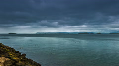 4K TimeLapse. The storm clouds in the strait the Atlantic ocean Stock Footage