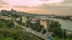 Buda Castle and Danube River at Sunset Stock Footage