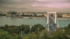 Elisabeth Bridge at Sunset in Budapest Stock Footage