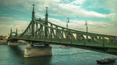 Tourists on Liberty Bridge in Budapest Stock Footage