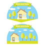 vector house illustration. home sweet home - stock illustration
