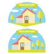 Vector house illustration. home sweet home Stock Illustration