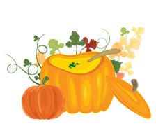 Stock Illustration of pumpkin soup bowl