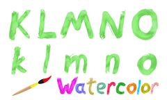 Watercolor font - stock illustration