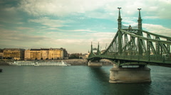 Wide Shot of Liberty Bridge in Budapest Stock Footage