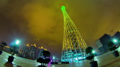 Stock Video Footage of night illumination guangzhou canton tower panorama 4k time lapse china
