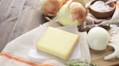 Ingredients for making French onion soup. Stock Footage