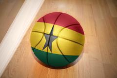 basketball ball with the national flag of ghana - stock photo