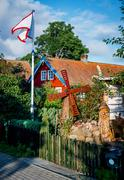 Typical rustic yard in Nida. Nida is a resort town. Neringa, Lithuania Stock Photos