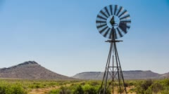 Karoo landscape with windmill Stock Footage