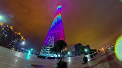 Guangzhou canton tower night illumination square 4k time lapse china Stock Footage