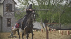 Cavalry knigths pike breaking SLOW-MO 400 fps Stock Footage