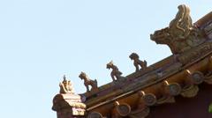 Gargoyles, Imperial Palace roof, China Stock Footage