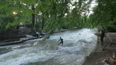 River surfing in Munich Stock Footage