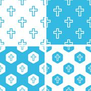 Catholic cross patterns set Stock Illustration