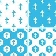 Orthodox cross patterns set - stock illustration