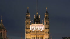 Panning time-lapse of the Victoria Tower at Westminster Palace in London. Stock Footage