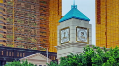 guangzhou street clock tower day panorama 4k time lapse china - stock footage