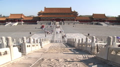 Carved marble Imperial Way, Forbidden City Stock Footage