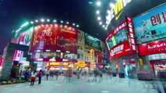 guangzhou evening tourist shopping street 4k time lapse china - stock footage