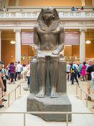 Sculpture of a pharaoh at The Met in New York Stock Photos