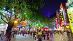 Guangzhou famous night illumination tourist street 4k time lapse china Stock Footage