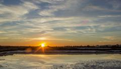 4K Sunset Time Lapse Olhao Ria Formosa Salt Pan - Zoom In Stock Footage