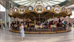 New york city brooklyn bridge park carousel timelapse 4k Stock Footage
