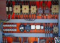 Control panel with cables wired in the air - cords old. Stock Photos
