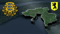 Parnu whit Coat of arms animation map Stock Footage