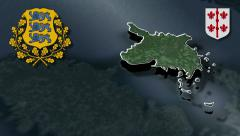 Hiiu whit Coat of arms animation map - stock footage