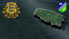 Jogeva whit Coat of arms animation map Stock Footage